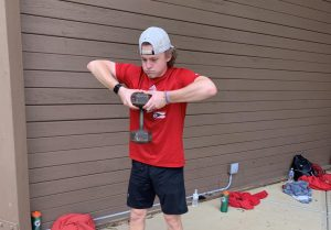 Matt Hock stays in shape to keep up with the demands of college baseball once it starts.