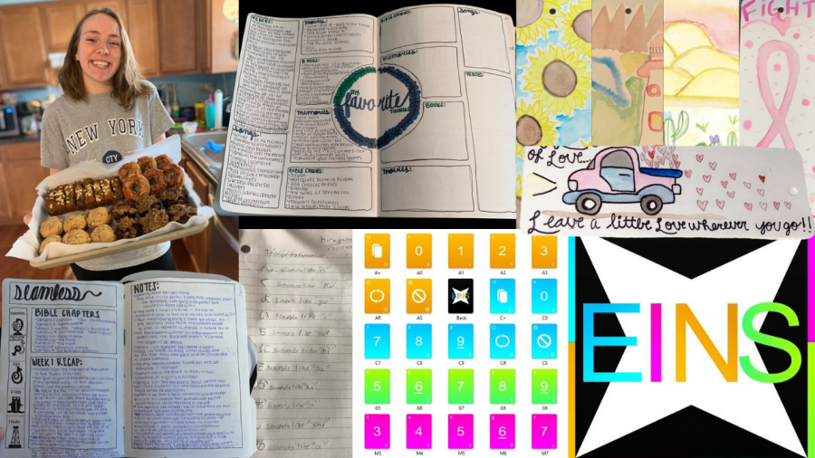 %28Left%29+Lauren+Deaton+shows+off+her+baked+goods+and+bullet+journaling+pages.%0A+%0A%28Right+bottom%29+Brennan+Riddell+and+Noah+Robinson+show+off+the+design+for+their+game.+%0A%0A%28Top+Right%29+Elizabeth+Norgren+shows+her+bookmark+designs.%0A%0A%28Bottom+middle%29+Josh+Hudgel+writes+down+what+he+has+learned+in+Japanese.+