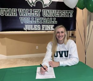 Jules Fink, senior, has an at-home signing ceremony to play D1 volleyball at Utah Valley University.