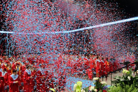 The class of 2019 celebrate during their graduation ceremony with confetti.