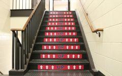 The four staircases in the high school were converted into one-way staircases to limit contact between students traveling between classes.